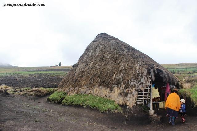 Una de las chozas donde viven los indígenas en Tigua
