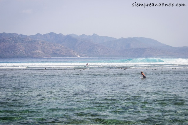 Surfistas en Gili Trawangan.